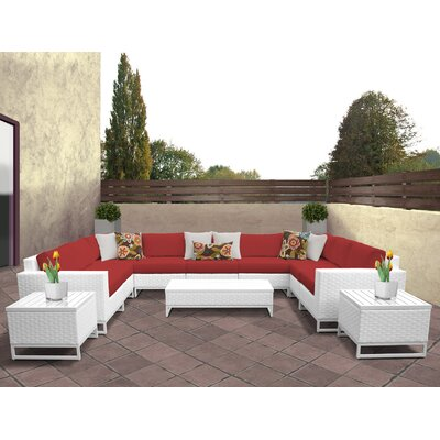 Miami 12 Piece Deep Seating Group with Cushions Fabric: Terracotta