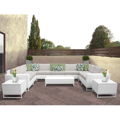 Miami 12 Piece Deep Seating Group with Cushions Fabric: Beige