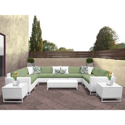 Miami 12 Piece Deep Seating Group with Cushions Fabric: Cilantro