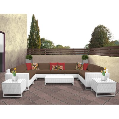 Miami 12 Piece Deep Seating Group with Cushions Fabric: Cocoa