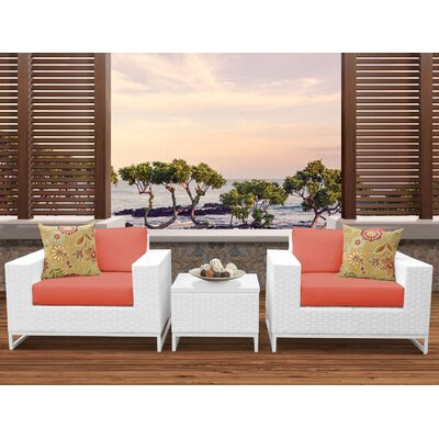 Miami 3 Piece Deep Seating Group with Cushions Fabric: Tangerine