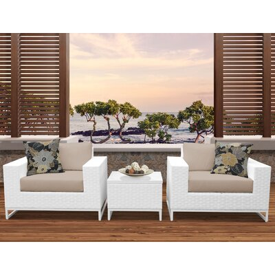 Miami 3 Piece Deep Seating Group with Cushions Fabric: Wheat