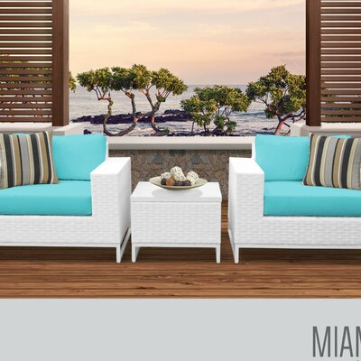 Miami 3 Piece Deep Seating Group with Cushions Fabric: Aruba