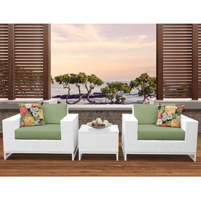 Miami 3 Piece Deep Seating Group with Cushions Fabric: Cilantro
