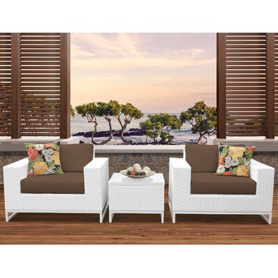 Miami 3 Piece Deep Seating Group with Cushions Fabric: Cocoa