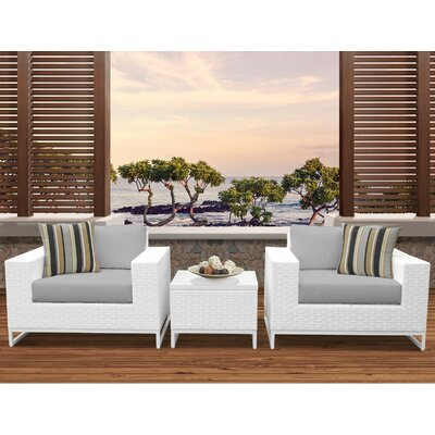 Miami 3 Piece Deep Seating Group with Cushions Fabric: Gray