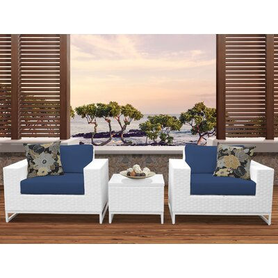 Miami 3 Piece Deep Seating Group with Cushions Fabric: Navy
