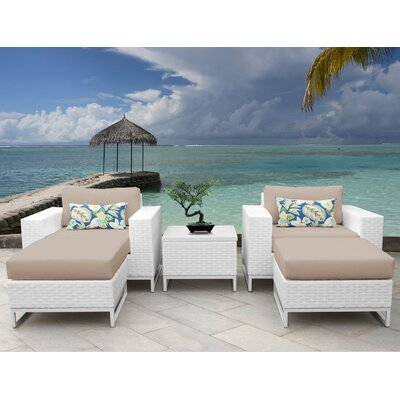 Miami 5 Piece Deep Seating Group with Cushions Fabric: Wheat