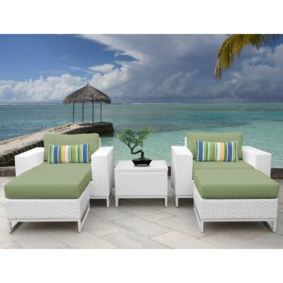 Miami 5 Piece Deep Seating Group with Cushions Fabric: Cilantro