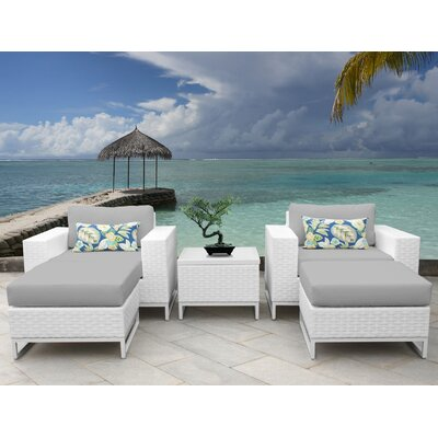 Miami 5 Piece Deep Seating Group with Cushions Fabric: Gray