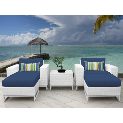 Miami 5 Piece Deep Seating Group with Cushions Fabric: Navy