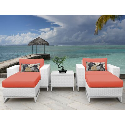 Miami 5 Piece Deep Seating Group with Cushions Fabric: Tangerine