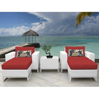 Miami 5 Piece Deep Seating Group with Cushions Fabric: Terracotta
