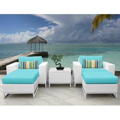 Miami 5 Piece Deep Seating Group with Cushions Fabric: Aruba