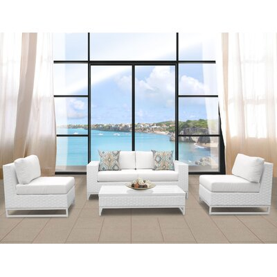 Miami 5 Piece Deep Seating Group with Cushions Fabric: White