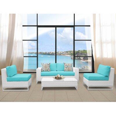 Miami 5 Piece Deep Seating Group with Cushions Fabric: Aruba