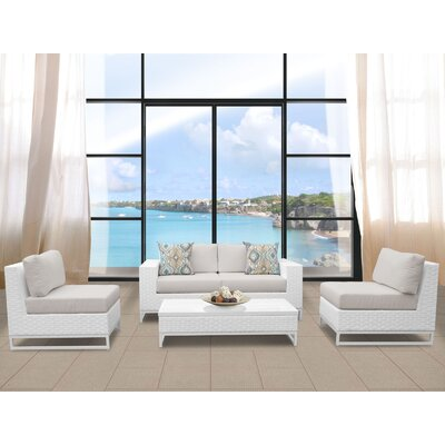 Miami 5 Piece Deep Seating Group with Cushions Fabric: Beige