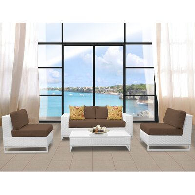 Miami 5 Piece Deep Seating Group with Cushions Fabric: Cocoa