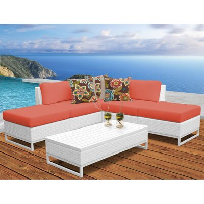 Miami 6 Piece Sectional Seating Group with Cushions Fabric: Tangerine
