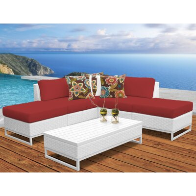 Miami 6 Piece Sectional Seating Group with Cushions Fabric: Terracotta