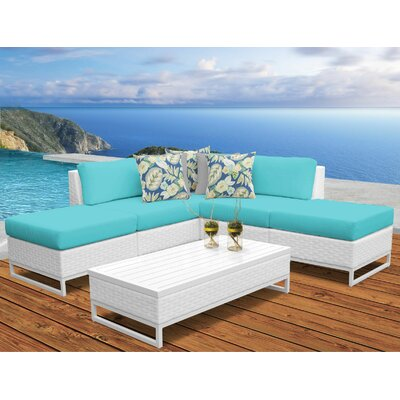 Miami 6 Piece Sectional Seating Group with Cushions Fabric: Aruba