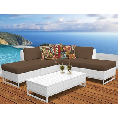 Miami 6 Piece Sectional Seating Group with Cushions Fabric: Cocoa