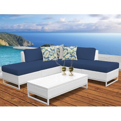 Miami 6 Piece Sectional Seating Group with Cushions Fabric: Navy