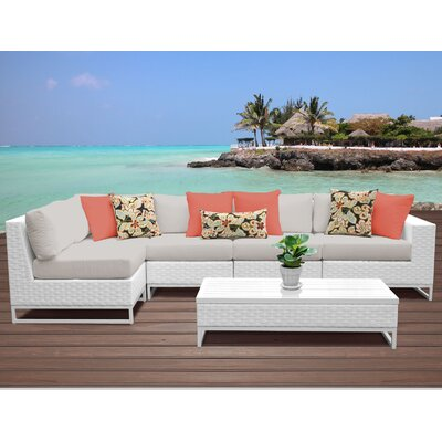 Miami 6 Piece Sectional Seating Group with Cushions Fabric: Beige