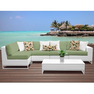 Miami 6 Piece Sectional Seating Group with Cushions Fabric: Cilantro
