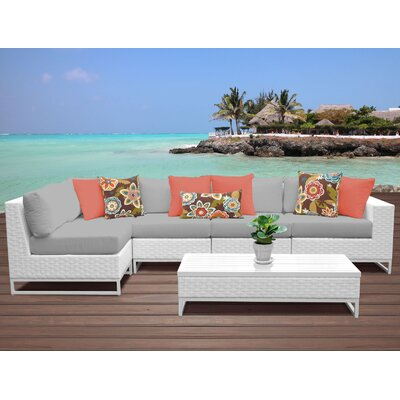 Miami 6 Piece Sectional Seating Group with Cushions Fabric: Gray