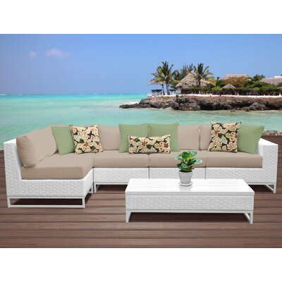Miami 6 Piece Sectional Seating Group with Cushions Fabric: Wheat