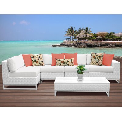 Miami 6 Piece Sectional Seating Group with Cushions Fabric: White
