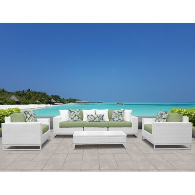 Miami 6 Piece Deep Seating Group with Cushions Fabric: Cilantro