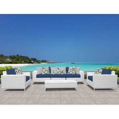 Miami 6 Piece Deep Seating Group with Cushions Fabric: Navy