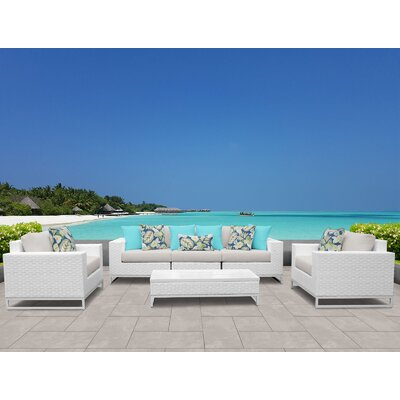 Miami 6 Piece Deep Seating Group with Cushions Fabric: Beige