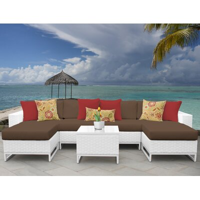 Miami 7 Piece Sectional Seating Group with Cushions Fabric: Cocoa