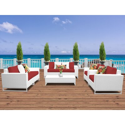 Miami 7 Piece Deep Seating Group with Cushions Fabric: Terracotta