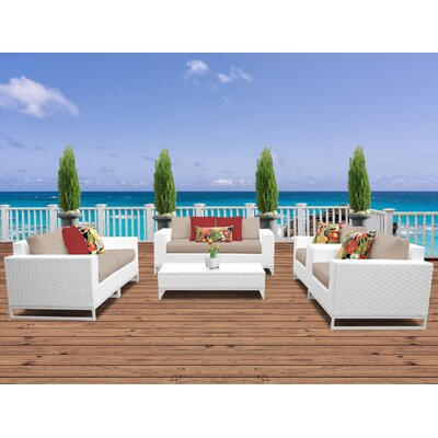 Miami 7 Piece Deep Seating Group with Cushions Fabric: Wheat