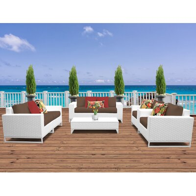 Miami 7 Piece Deep Seating Group with Cushions Fabric: Cocoa