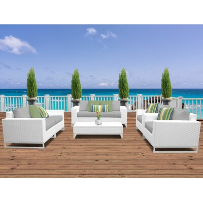 Miami 7 Piece Deep Seating Group with Cushions Fabric: Gray