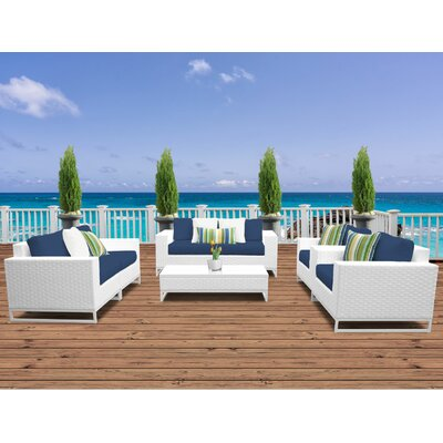 Miami 7 Piece Deep Seating Group with Cushions Fabric: Navy