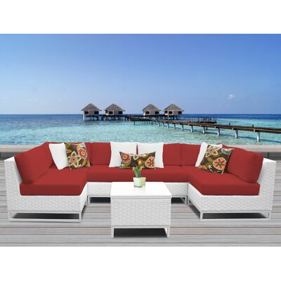 Miami 7 Piece Sectional Seating Group with Cushions Fabric: Terracotta