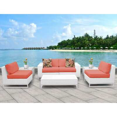Miami 7 Piece Deep Seating Group with Cushions Fabric: Tangerine
