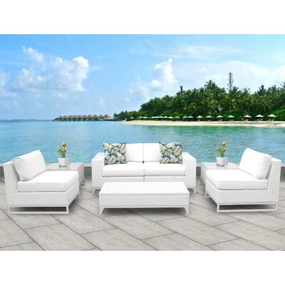 Miami 7 Piece Deep Seating Group with Cushions Fabric: White