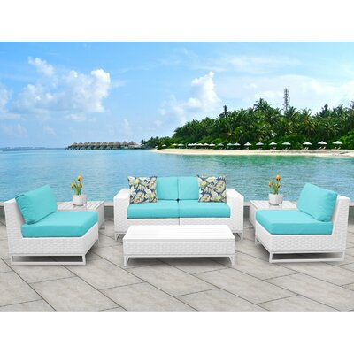 Miami 7 Piece Deep Seating Group with Cushions Fabric: Aruba