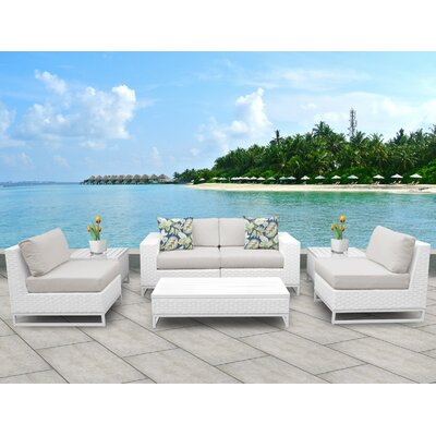 Miami 7 Piece Deep Seating Group with Cushions Fabric: Beige