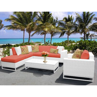 Miami 7 Piece Sectional Seating Group with Cushions Fabric: Tangerine