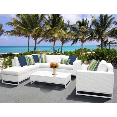 Miami 7 Piece Sectional Seating Group with Cushions Fabric: White