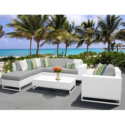Miami 7 Piece Sectional Seating Group with Cushions Fabric: Gray