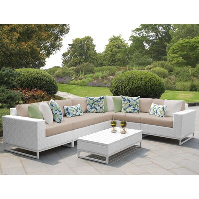 Miami 7 Piece Sectional Seating Group with Cushions Fabric: Wheat